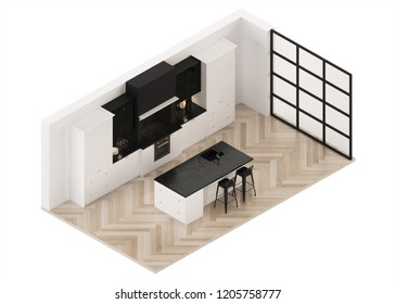 Modern kitchen interior. Modern classic. Orthogonal projection. View from above.  3D rendering.
