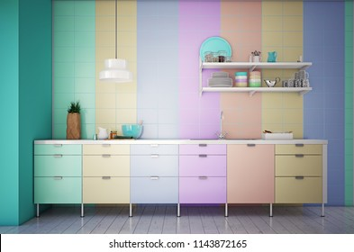 modern kitchen interior. color blocking 3d concept. rendering.