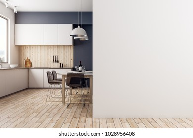 Modern kitchen interior with copy space on wall. Advertisement concept. Mock up, 3D Rendering