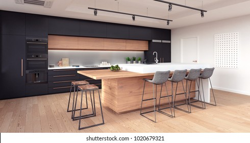 Modern kitchen interior design 3D Rendering, 3D Illustration