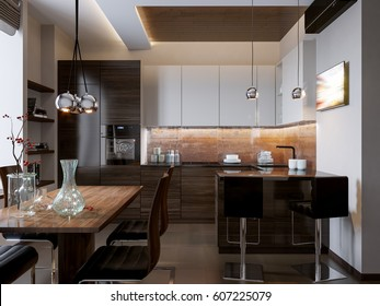 Modern kitchen interior design with white and wooden facades. 3d render