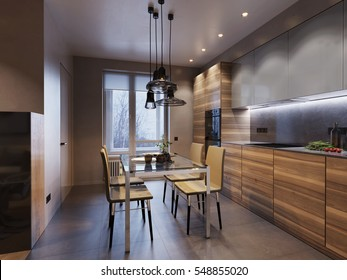 Modern kitchen interior design with wooden facades and stone surfaces. 3D rendering concept