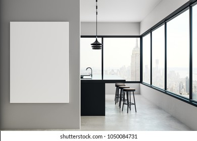 Modern kitchen interior with empty billboard and panoramic new york city view. Mock up, 3D Rendering