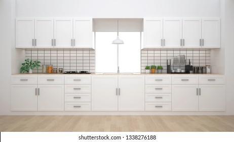 Moderno interior de cocina con muebles.3d renderizado