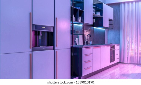 Modern Kitchen interior with light strip light on. 3D illustration