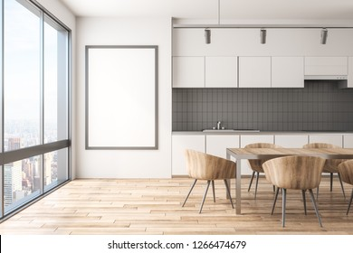 Modern kitchen interior with New York city view, furniture, daylight and empty frame on concrete wall. Mock up, 3D Rendering
