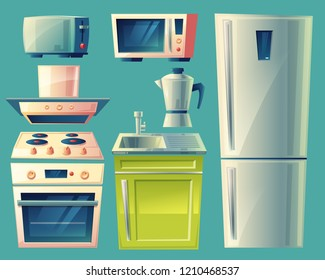 modern kitchen interior objects set. Cartoon illustration with cupboard furniture, fridge, cooking stove, range exhaust hood, sink microwave oven, kettle appliances.