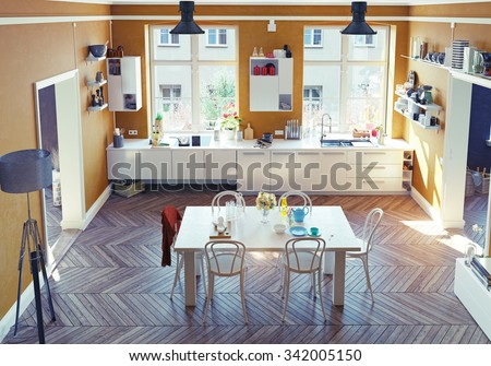 Modern Kitchen Interior Top View 3 D Render Stock Illustration