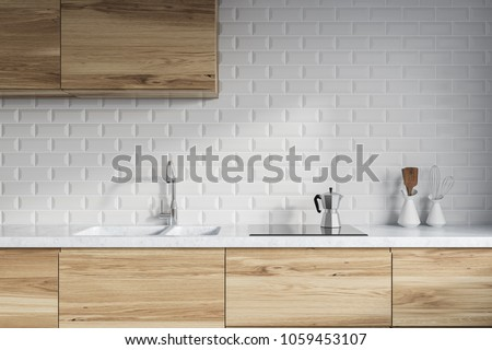 Modern Kitchen Interior White Brick Walls Stock Illustration