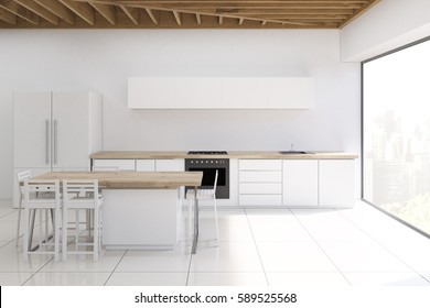 Modern kitchen interior with white walls, panoramic window, counter top and a table with a fridge. 3D rendering. Mock up.