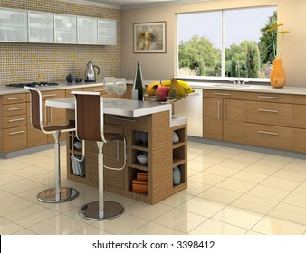 Modern kitchen with an island. The picture on the wall is my own photograph.