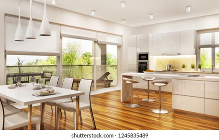 Modern kitchen and living room. 3D rendering