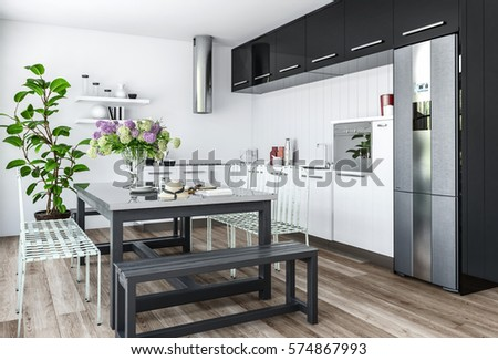 Modern Kitchen In Minimalist Interior Design With Black And White Furniture Dining Table Chairs