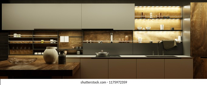 Modern kitchen at night with LED light in the kitchenette (3d Rendering)