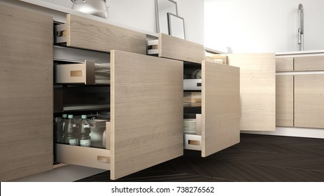 Modern kitchen, opened wooden drawers with accessories inside, solution for kitchen storage, minimalist interior design, 3d illustration