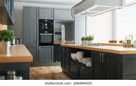 Modern kitchen with parquet and grey fornitures, 3d render illustration
