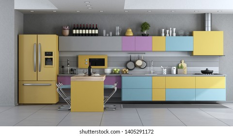 Modern kitchen room in pastel colors with island and stool - 3d rendering