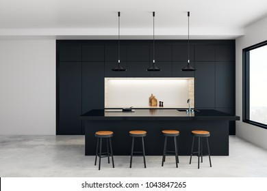 Modern kitchen studio interior with furniture and daylight. 3D Rendering