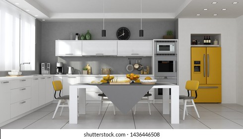 Modern kitchen with table set and built-in yellow fridge - 3d rendering