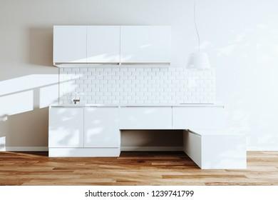 Modern kitchen in a White loft 3d render