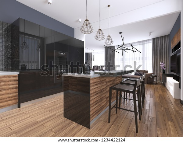 Wondrous Modern Kitchen Wood Gloss Black Kitchen Stock Illustration Home Interior And Landscaping Mentranervesignezvosmurscom