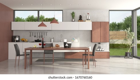 Modern kitchen with wooden dining table , chairs and large winows - 3d rendering