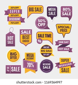 Modern labels, ribbons and tags for advertising. Ribbon banner and label sticker sale offer and badge tag sale advertising. illustration