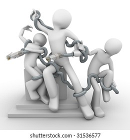 Modern Laocoon (ancient myth), people braided with social network, internet addicted