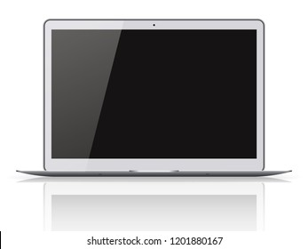 Modern laptop with black screen isolated on white background. 3D illustration.
