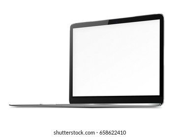 Modern laptop with blank screen and shadows isolated on white background. 3D illustration.
