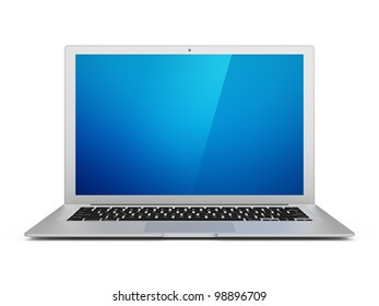Modern laptop with clipping path for screen