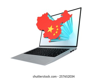 Modern laptop with map of china containing the chinese flag