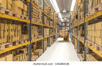 modern large 3d rendering of warehouse and forklift at work