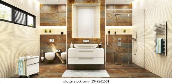 Modern large bathroom with metal tiles.  3D rendering