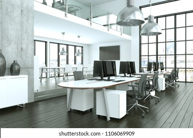 modern large minimalistic office interior Design 3d Rendering mock up