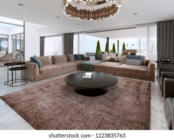 Modern large sofa with armchairs in Contemporary house. 3D rendering