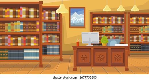 Modern library with bookshelf illustration. Librarians desk with desktop computer. Interior illustration