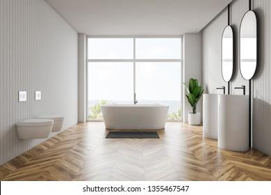 Modern light bathroom interior with mirror. 3d rendering