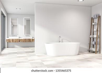 Modern light bathroom interior. White open space. 3d rendering