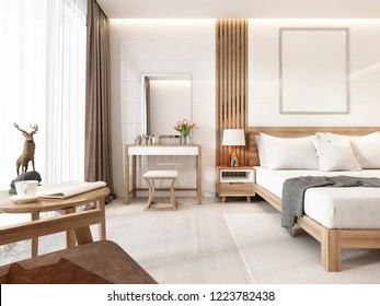 Modernes helles Schlafzimmer mit Holzmöbeln im skandinavischen Stil. 3D-Rendering