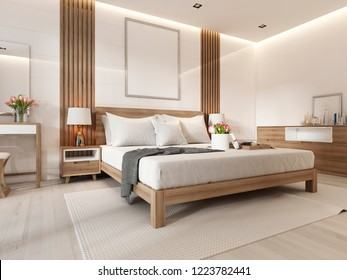 Modern light bedroom with wooden furniture in Scandinavian style. 3D rendering
