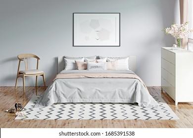 Modernes, hellgraues romantisches Schlafzimmer mit Fenster, Blumen, einem horizontalen Poster unter dem Bett mit Plaid und Kissen. Vorderseite. 3D-Darstellung