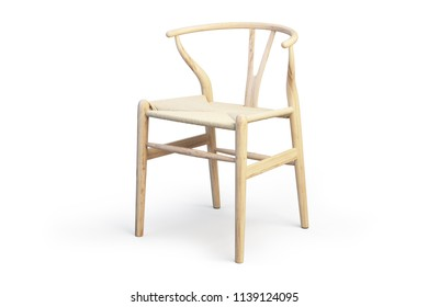 Modern light wood chair with wicker seat on white background with shadows. 3d render