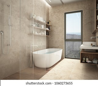 Modern limestone bathroom, bathtub and shower, shelves with bottles, big panoramic window, 3d illustration