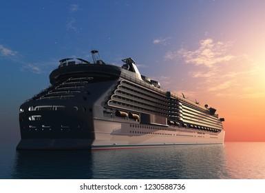A modern liner is in an ocean,3d render