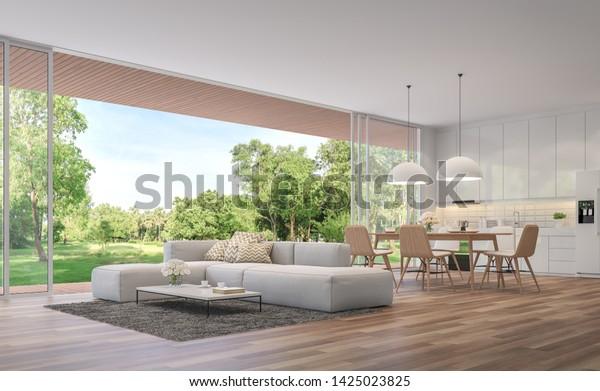 Ilustración De Stock Sobre Moderno Salón Comedor Y Cocina