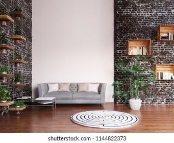 Modern living room, 3d render