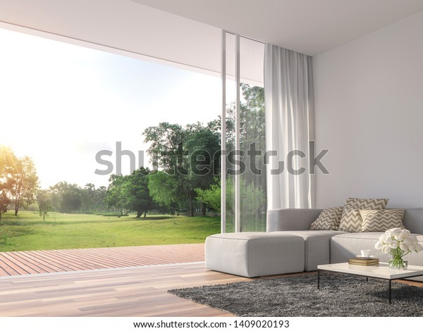 Modern living room 3d render.The Rooms have wooden floors ,decorate with white fabric  sofa,There are large open sliding doors, Overlooks wooden terrace and big garden.