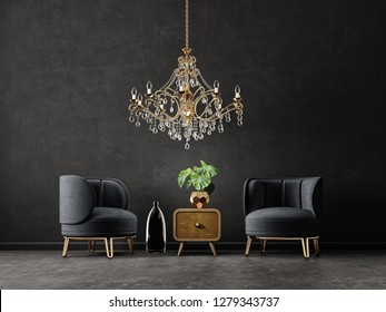 modern living room  with armchair and golden chandelier. scandinavian interior design furniture. 3d render illustration