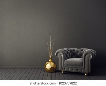 modern living room  with  armchair. interior design furniture. 3d render illustration